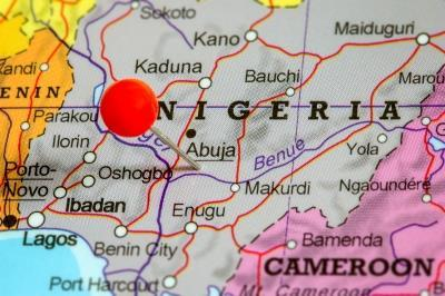 African map with pin in Nigeria