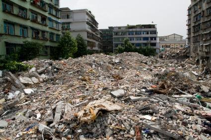 Buildings levelled in the Sichuan earthquake, Dujiangyan, Sichuan, China, May 18 2008