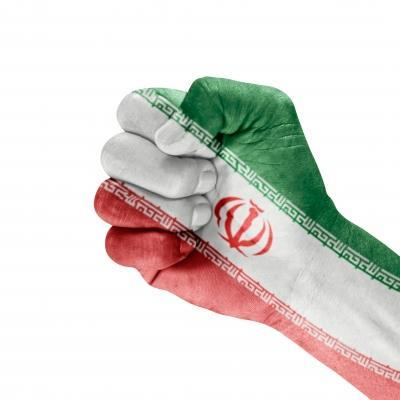 Iran flag on hand