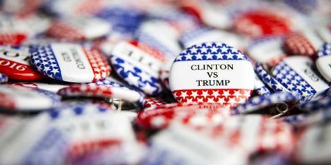Clinton v Trump badges